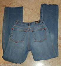JR Womens JEANS Brittania Distressed HEGE Lines Blue Denim Size 9 Long Unhemmed