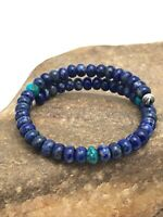 Amazing Gift Native American Sterling Silver Lapis Turquoise Bead Bracelet 3260