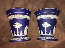 Wedgwood Blue Dipped Jasperware Vases/Planters