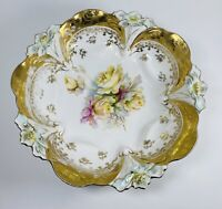 Vintage Flower Shaped Bowl Decorative Gold Gilt Trim 9-1/2""