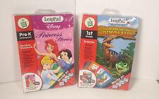 Leap Frog LeapPad Pre-k Disney Princess Stories Interactive Book Cartridge 2 Pcs