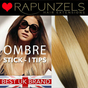 Stick tip Ombre human hair extensions, micro ring i tips RAPUNZELS SALON HAIR