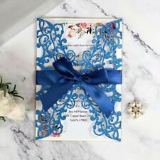 Glittery Laser Cut Style Invitation Card With Ribbon Party Decoration Supply New
