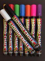 *5MM RAINBOW LIQUID CHALK Wet Wipe Marker Pen Nib Chalk Boards Glass *UK SELLER*