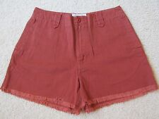 """NEW WOMEN'S ABERCROMBIE & FITCH BURNT ORANGE JEAN """"RIVER SHORTS"""" SIZE 8 FRAYED"""