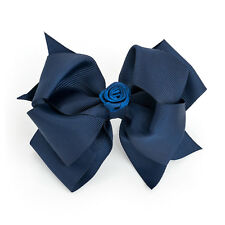 "5"" Blue Flower Large Bow Hair Alligator Clips Girls Ribbon Bow Kids Accessories"
