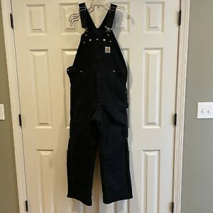 Carhartt Insulated Canvas Workwear Overalls Bib Coveralls R03 BLK 34x30 USA Made