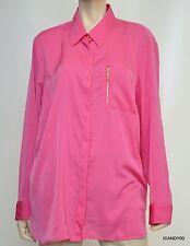 Nwt $109 RALPH LAUREN Zip-Pocket Long Sleeve Satin Blouse Top Shirt Pink 1X