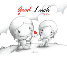 """""""Good Luck"""" Clover Card Cupids wish luck for exam/move or new job etc red b&w"""