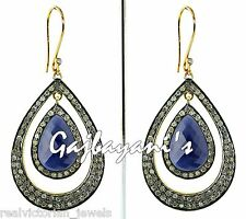 Beautiful Handcrafted  Diamond & Opaque Blue Sapphire Sterling Silver Earring