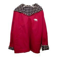 Red Hooded Zip Jacket Elephant Emblem Houndstooth Lining Game Day Womens Medium