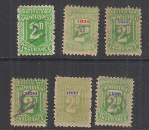 QLD 1934-1938 ovpts on 2d Green UNEMPLOYMENT RELIEF-Revenue Elsmore Cat $75++(6)