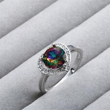 New Women 925 Silver Heart-shaped Adornment Rainbow Zircon Engagement Rings #8