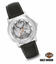 Harley Davidson Eagle Bar & Shield Watch Leather Strap Stainless Steel Bulova