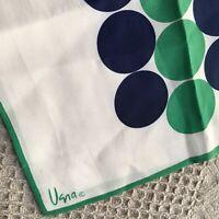 Vintage Vera Neumann Ivory Green Blue Polka Dot Oblong Rolled Edged Scarf