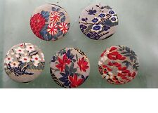 Large 38 mm Handmade Fabric Buttons With Vintage Kimono Fabric Buttons. 10 Pcs.