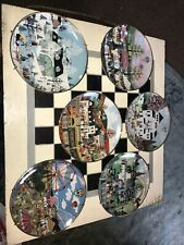 Set Of 6 American Folk Art Collection Plates With Holders By Wooster Scott