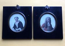 ONE of a KIND Antique RARE Pair Framed HAND TINTED Lithographs PORTRAITS ManWIFE