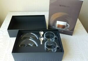 Nespresso Vertuo Clear Glass Cappuccino Coffee Mugs & Spoons Set