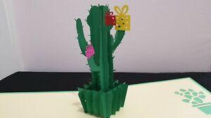 3D Pop Up Card -  Cactus Branch (Birthday, Good luck, Get well...)