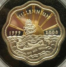 Bermuda 2000 Saliboat Map Sun 2 Dollars Silver Coin,Proof