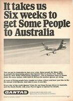 1967 Original Advertising' Vintage Qantas Airlines Australia Six Weeks