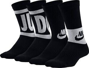 Nike Kid's 179117 3-Pack Performance Cushioned Crew Socks Black/White Size S