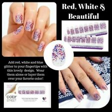 New COLOR STREET RED WHITE & BEAUTIFUL Patriotic Nail Polish Strips RETIRED 4th