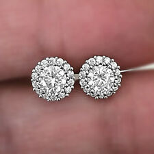Round-Cut Diamond Cluster Stud Fine Earrings Sparkling 14K White Gold Stud