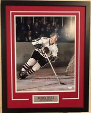 BOBBY HULL FRAMED SIGNED INSCRIBED CHICAGO BLACKHAWKS 16x20 PHOTO JSA COA
