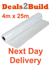 25m x 4m Clear Polythene Plastic Sheeting Roll, 50 Micron / 200 Gauge - NEXT DAY