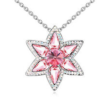 18K Gold GP Made With Swarovski Element Crystal Star Flower Pendant Necklace Red