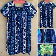 Vintage Ui-Maikai Hawaiian Dress Muu Pineapple Floral Tiki Mask Drum Print