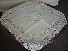"""36"""" Square Embroidery Pink Rose Organza TableCloth TableTopper mat Party banquet"""