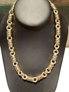 Judith Ripka 14k Gold Clad 925 Silver Circle Link Necklace & Bracelet