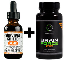 SURVIVAL Shield x-2 NACIENTE Yodo (29.6ml) + cerebro Fuerza + (36 TAPAS )
