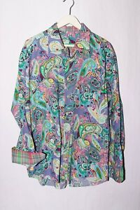 Alan Flusser Button Down Shirt Purple Paisley Contrast Cuff size XL #C338