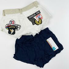 Vintage Havana Girls Size 7 8 Shorts LOT of 2 Denim Jean Patches Blue Pull On