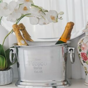 Vino Fresco Italia Large Oval Silver Nickel Champagne Ice Bucket Hamptons Decor