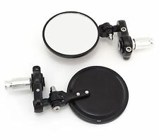 Folding Bar End Motorcycle Mirrors - Aluminum Black - Right and Left Cafe Racer