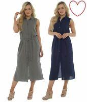 Ladies Dress Linen Button Through Summer Holiday Shift