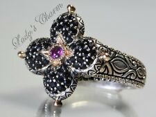 Barbara Bixby Pave' Black Sapphire Lotus Ring Sterling Silver 18K Gold Size 5