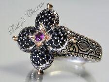 Barbara Bixby Pave' Black Sapphire Lotus Ring Sterling Silver 18K Gold Size 7