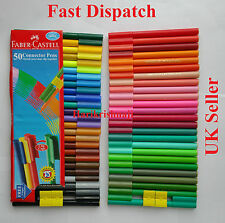 100 Faber Castell Clip Colours Washable Felt Tip Pens Pen 8 Free Connector Clips