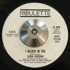 SARAH VAUGHAN I Believe In You VG HEAR WL Promo Soul Jazz Roulette 45 1963