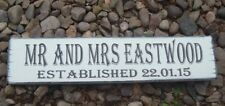 Wedding mr & mrs signs established free standing shabby vintage top table signs