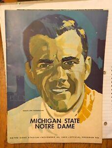 1965 NOTRE DAME SOUVENIR PROGRAM VS MICHIGAN STATE 10/20/65