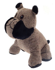 Brown Beige Black Fabric Herringbone Embroidered Dog Door Stop 1kg 25x19x20cm