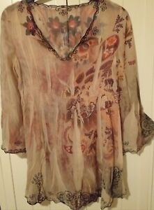 Vintage sheer embroidered top