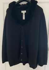 Rena Rowan Black Fur Collared Cardigan Size 24 Excellent Condition